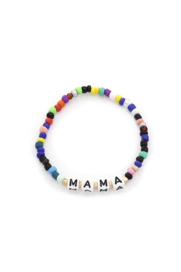 Mama Quote Beaded Stretch Bracelet