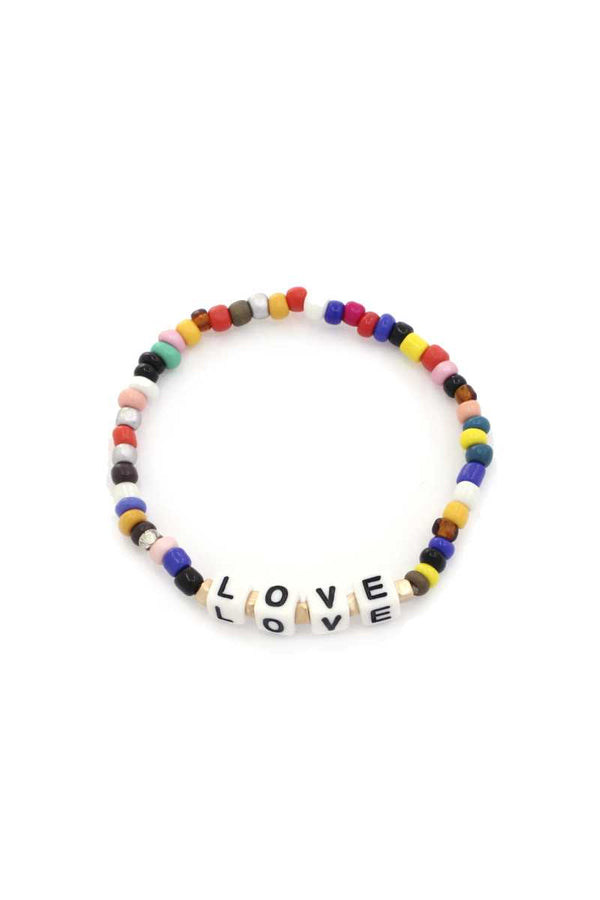 Love Quote Beaded Stretch Bracelet