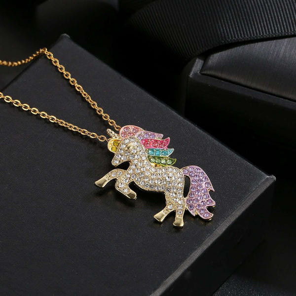 Swarovski Crystal Rainbow Unicorn Necklace in 14K Gold