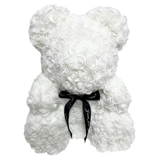White Rose Teddy Bear Rose Flower Valentines Day Gift