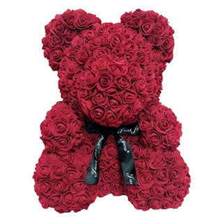Red Wine Rose Teddy Bear Rose Flower Valentines Day Gift