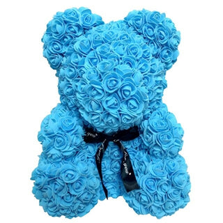 Light Blue Rose Teddy Bear Rose Flower Valentines Day Gift