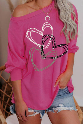 Valentine Heart Print Pullover Long Sleeve Top