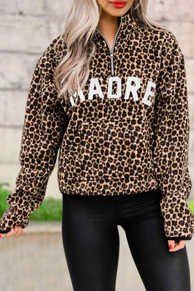 Leopard Madre Zipper Collar Pullover Sweatshirt