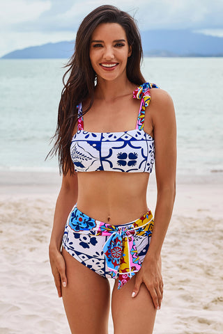 Tribal Print Wide Strap Two-piece Swimsuit