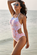 Halter Floral Print One-piece Swimsuit
