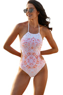 Halter Floral Print One-piece Swimsuit Women's