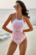 Women's Halter Floral Print One-piece Swimsuit