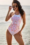 Pink Halter Floral Print One-piece Swimsuit