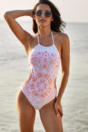 Womens Halter Floral Print One-piece Swimsuit