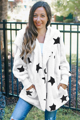 Lapel Collar Scatter Star Fuzzy Coat