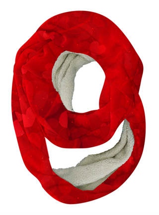 Red Hearts Infinity Scarf