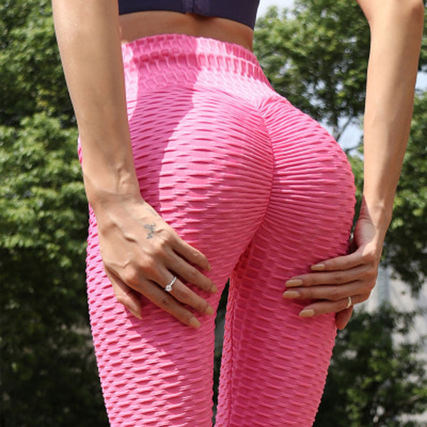 Pink women's high waist yoga pants scrunch butt ruched butt lifting leggings tummy control butt lift