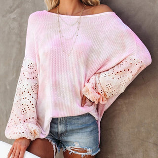Womens Tie dye one shoulder lace long sleeve Top