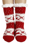 Red Christmas Holiday Fuzzy Fleece Knit Socks