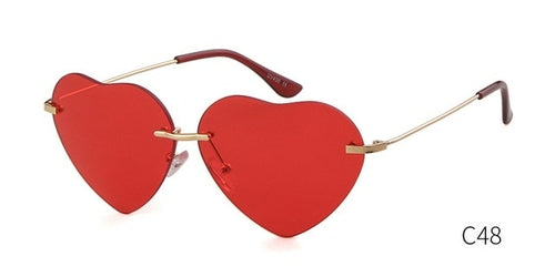 Heart Shaped Rimless Sunglasses Women
