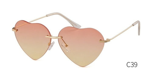 Valentine Heart Shaped Rimless Sunglasses Women