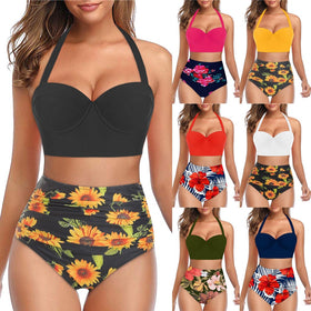 Women Floral Print Mixed Color High Waist Bikini Swimsuit