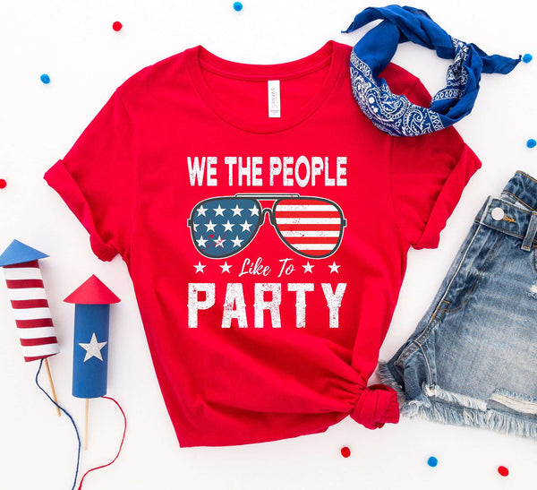 Red We the people like to party T-shirt