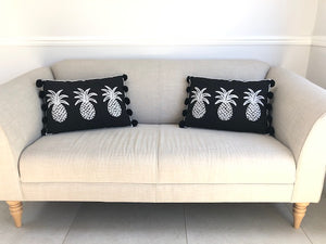 Pineapple Cushion - Black/White