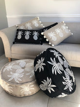 Load image into Gallery viewer, Embroidered Pineapple Pouffe - Black/White