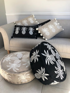 Embroidered Pineapple Pouffe - Black/White