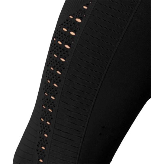 Mesh Seamless Legging With Ribbing Detail - Black - Chic Athletics