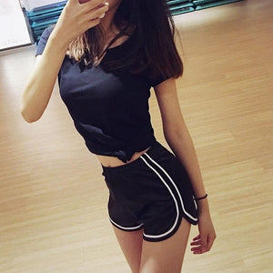 High Elastic Waist Solid Satin Yoga Shorts