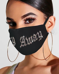 Letter Pattern Bling Rhinestone Face Mask