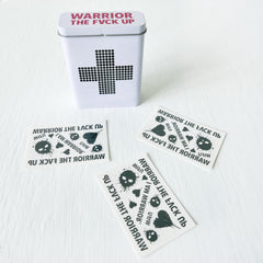 Battle Wounds Kit - Retro First Aid Tin with Warrior Temporary Tattoos