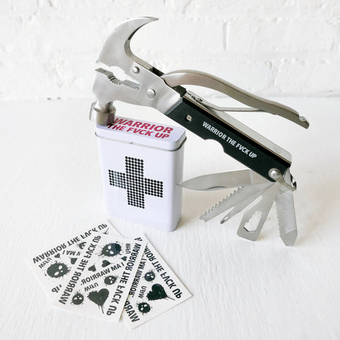 Handy Hammer Warrior Set - First Aid Tin Hammer Multi Tool Tattoos Set