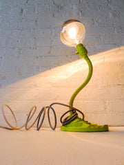 Vintage Industrial Lighting - Neon Yellow Gooseneck Cast Iron Desk Lamp - Grey Ombre Cord