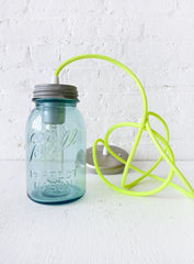 Industrial Lighting Vintage Mason Jar Pendant w/ Neon Green Yellow Cord