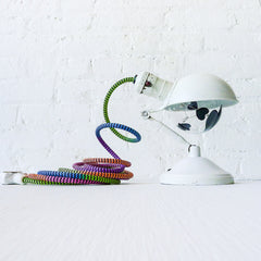 30% SALE Vintage Lamp Geometric Technicolor Textile Color Cord