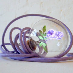 Inside the Lavender Flower Bulb Pendant Lamp with Lavender Cloth Cord