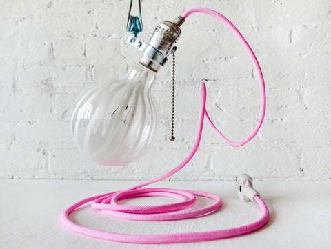The Milker Industrial Clip Clamp Light with Hand-Dyed Pink Textile Cord