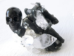 Pointed Apophyllite on Black Chalcedony with Agate Carved Skull