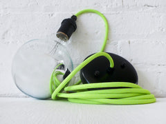 Neon Green/Yellow Pendant Light Cord with Giant Silver Globe Bulb