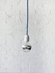 Royal Blue Pendant Light Cord with Large Silver Globe Bulb