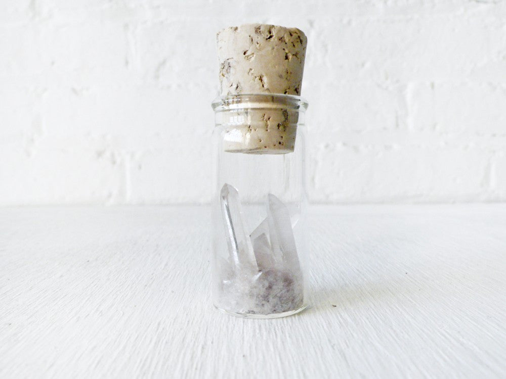 Raw Quartz Point and Mica in Glass Cork Vial