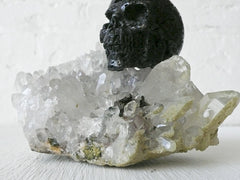 Large Quartz and Green Apatite Crystal with Hot Lava Stone Skull