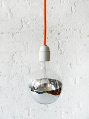 Neon Orange Net Color Cord Hanging Pendant Light with Giant Silver Bowl Bulb