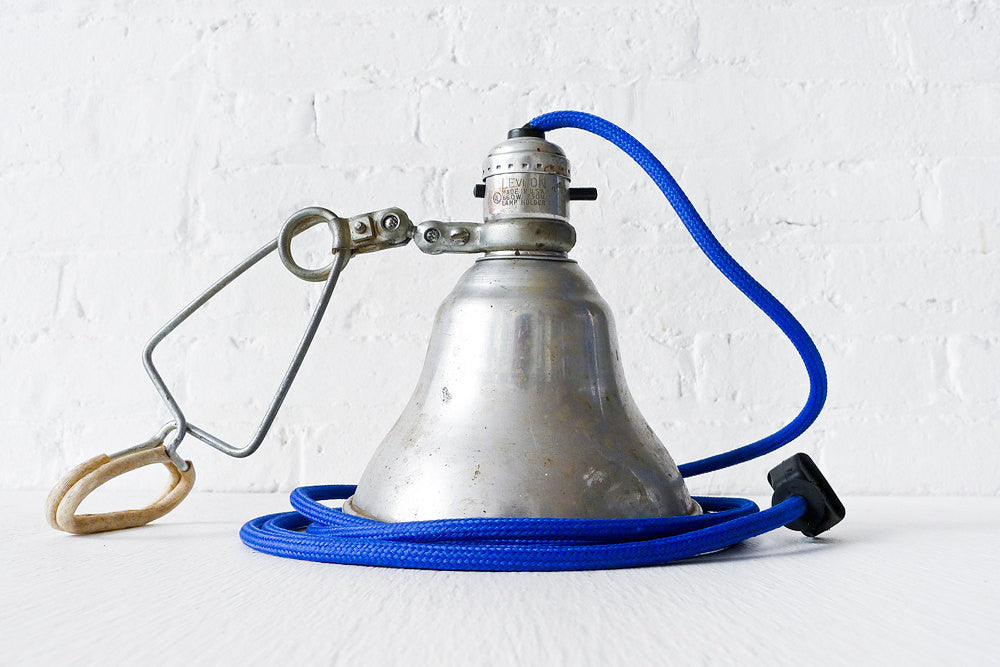 Vintage clamp light industrial metal shade w blue color cloth vintage clamp light industrial metal shade w blue color cloth cord publicscrutiny Image collections