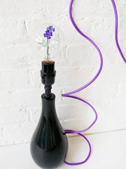 Neon Flower Light Bulb Black Tear Lamp with Purple Textile Cord