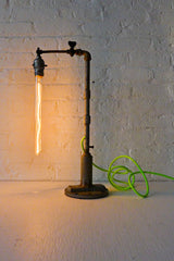 Pope Pipe Industrial Lamp with Tungsten Tubular Bulb and Neon Green Yellow Textile Cord