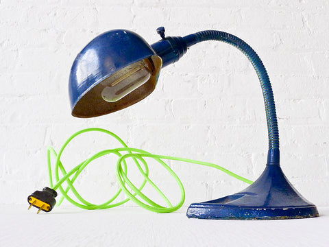 20% SALE Industrial Vintage Navy Blue Gooseneck Desk Lamp - Neon Yellow Green Textile