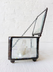 Beveled Glass Jewelry Box with Raw Quartz Crystal Point and Rainbow Mica