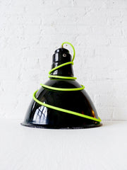 30% SALE Vintage Industrial Gas Station Factory Lighting with Neon Yellow Textile Cord