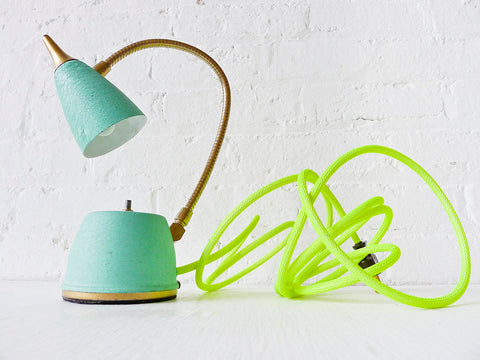 Spring Fresh Mint Green Gooseneck Lamp w/ Neon Yellow Net Color Cord - Vintage Wall/Table Sconce