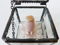 Alice Trapped in the Looking Glass Off with Her Head Doll in Beveled Glass Jewelry Box